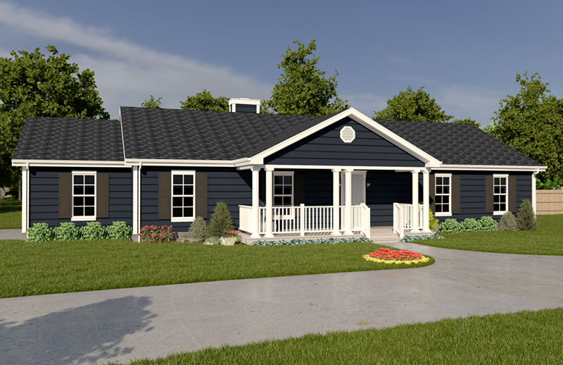Striking Ranch With Double-Pillared Front Porch Covering