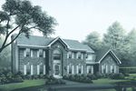 Greek Revival House Plan Front Image - Ridgemont Colonial Luxury Home 001D-0038 | House Plans and More