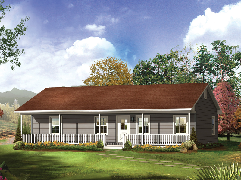 Delta Queen II Country Home Plan 001D-0068   House Plans and ... on front porch on ranch house, add porch to ranch house, landscaping for small ranch house,