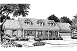 Colonial House Plan Front Image of House - Ryland Ranch Home 005D-0001 | House Plans and More