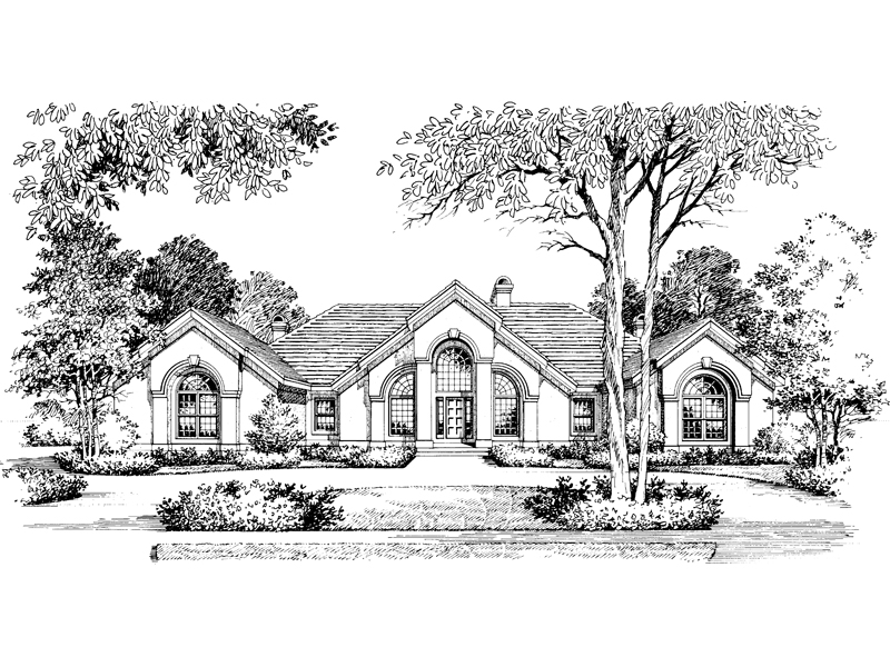 Florida House Plan Front Image of House - Clayton Atrium Ranch Home 007D-0002   House Plans and More