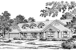 Traditional House Plan Front Image of House - Foxbury Atrium Ranch Lovely Home 007D-0010 | House Plans and More