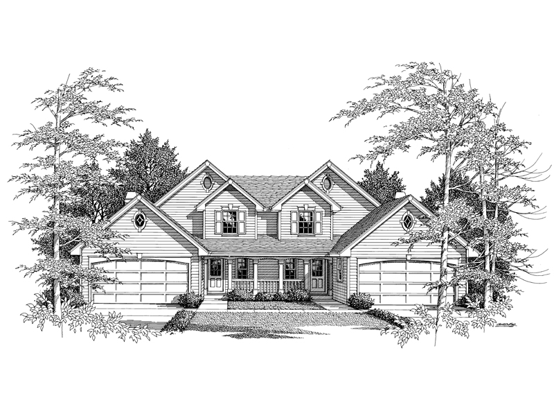 Multi-Family House Plan Front Image of House - Countryridge Farmhouse Duplex 007D-0024 | House Plans and More