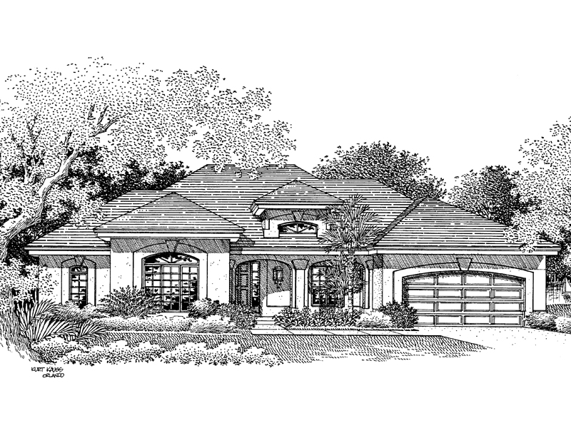 Florida House Plan Front Image of House - La Valencia Florida Style Home 007D-0046 | House Plans and More