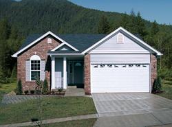 exterior of small brick ranch home plan