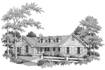 Country House Plan Front Image of House - Ashbriar Atrium Ranch House Plans   House Plans with Atrium in Center