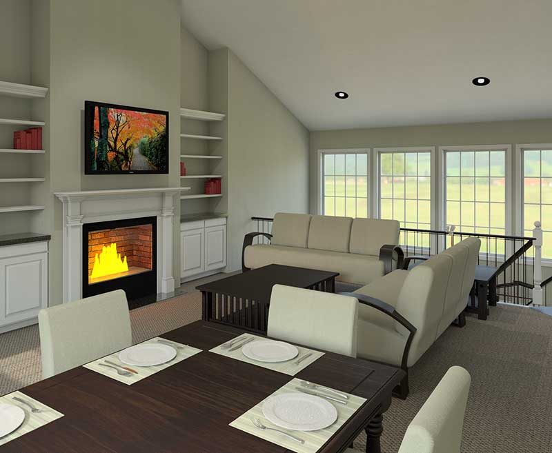 Country House Plan Great Room Photo 02 - Ashbriar Atrium Ranch House Plans   House Plans with Atrium in Center