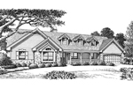 Country House Plan Front Image of House -  Foxridge Country Ranch House Plans   Country Ranch Home Plans