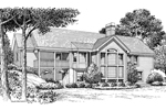 Country House Plan Rear Image of House -  Foxridge Country Ranch House Plans   Country Ranch Home Plans
