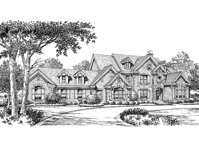 Traditional House Plan Front Image of House - Mathes Place European Home 007D-0149 | House Plans and More