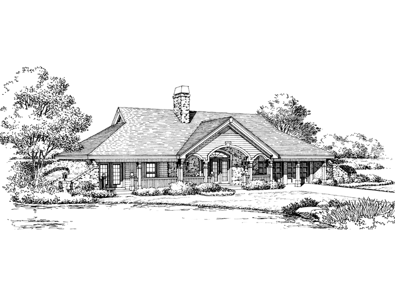 Country House Plan Front Image of House - Stonehaven Berm Home 007D-0161 | House Plans and More