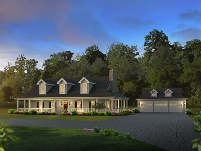 Farmhouse Plan Front of Home - Oakleigh Country Home 007D-0252 | House Plans and More