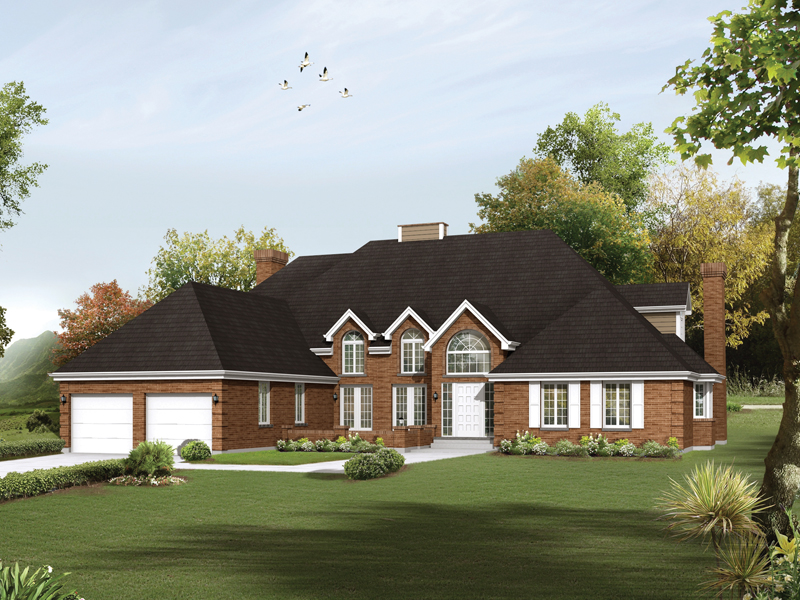 Elaborate Home With Broad Roof And Brick Front