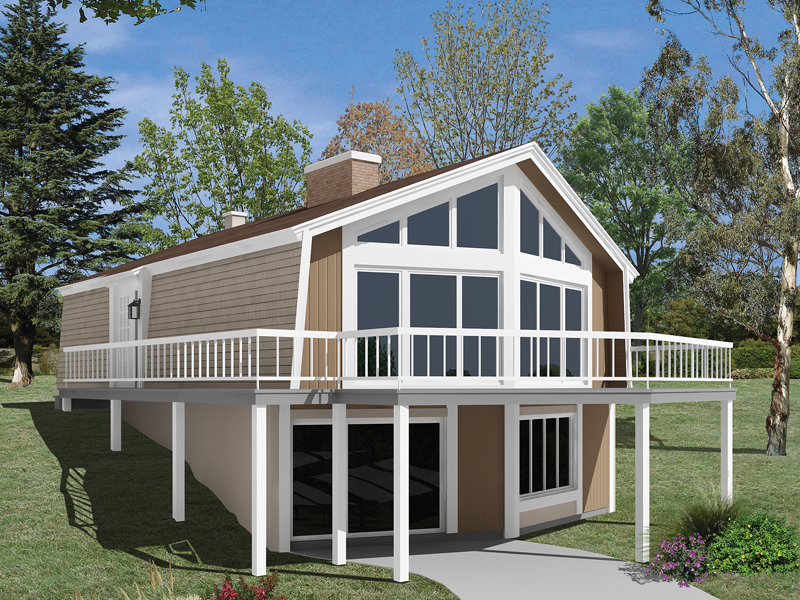 Skyliner A-Frame Vacation Home Plan 008D-0151 | House Plans ... on walkout ranch floor plans, simple lake house floor plans, split level home floor plans, hillside house plans with walkout basement, modular home floor plans,