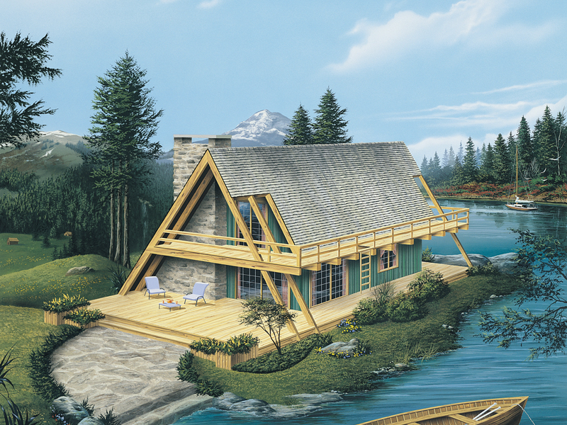 Modern A-Frame Cabin Plan | A-Frame House Floor Plan with ...