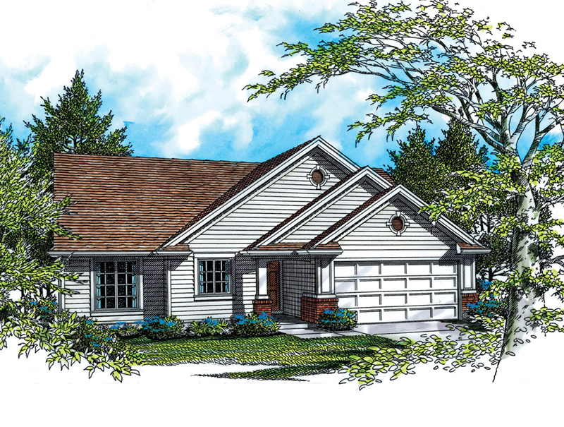 Ranch House Plan Front of Home - Abbot Hill Ranch Home  011D-0064 | House Plans and More