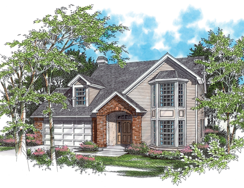 Country House Plan Front of Home - Kindle Hill Two-Story Home  011D-0102 | House Plans and More