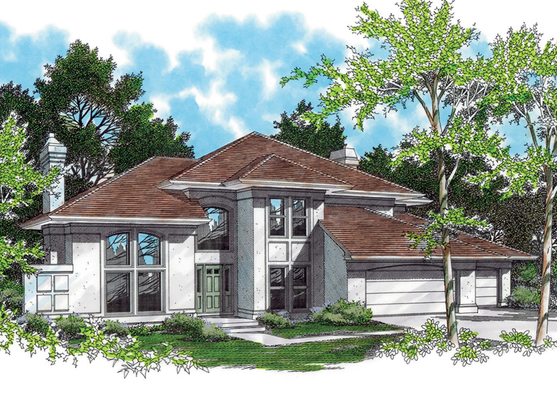 Prairie Style Floor Plan Front of Home -  011D-0133 | House Plans and More
