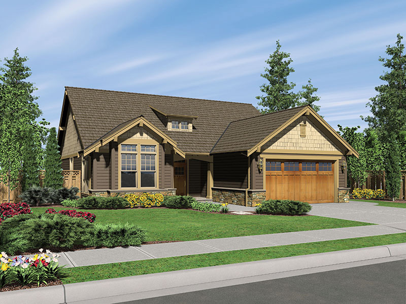 Shingle House Plan Front Image - Longhurst Craftsman Ranch Home 011D-0222 | House Plans and More