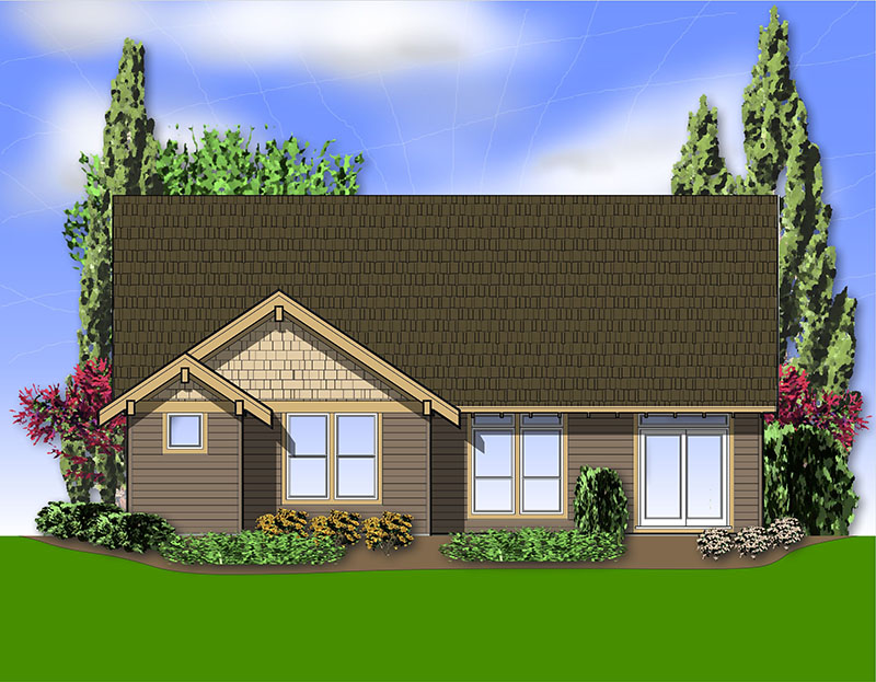 Craftsman House Plan Rear Photo 01 - Longhurst Craftsman Ranch Home 011D-0222 | House Plans and More
