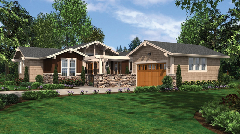 Mountain Home Plan Front Image - Sunny Top Craftsman Home 011D-0273 | House Plans and More