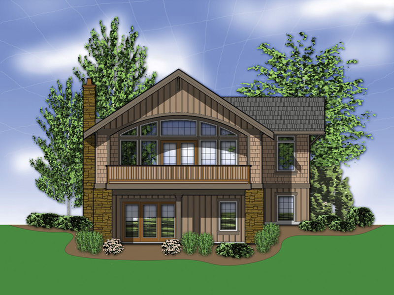 Mountain Home Plan Rear Photo 01 - Nolan Hill Shingle Home 011D-0292 | House Plans and More