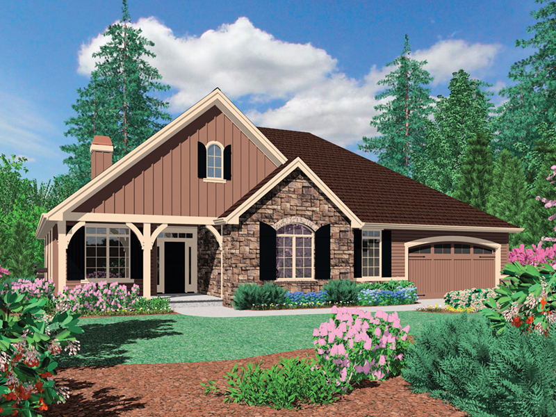 Traditional House Plan Front Image - Saxon Ridge Country Home  011D-0327 | House Plans and More