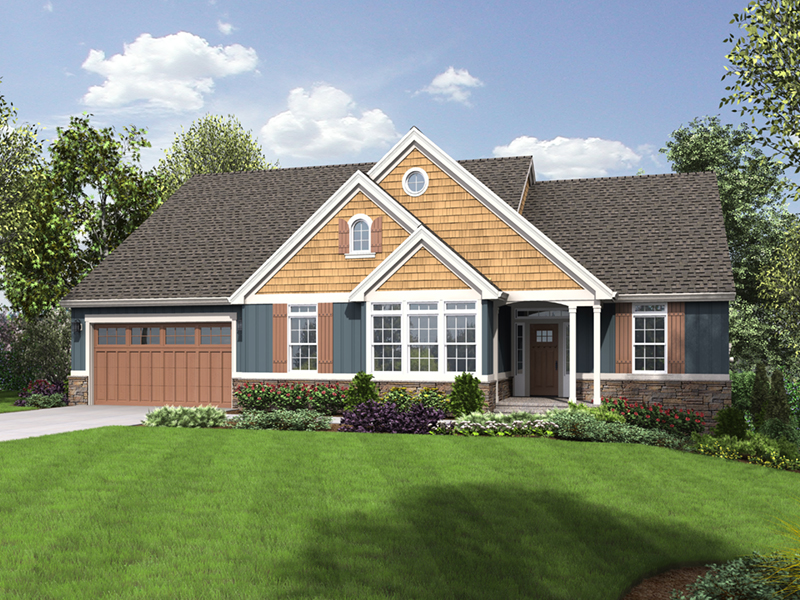 Craftsman House Plan Front of Home - Elm Creek Craftsman Home  011D-0328 | House Plans and More
