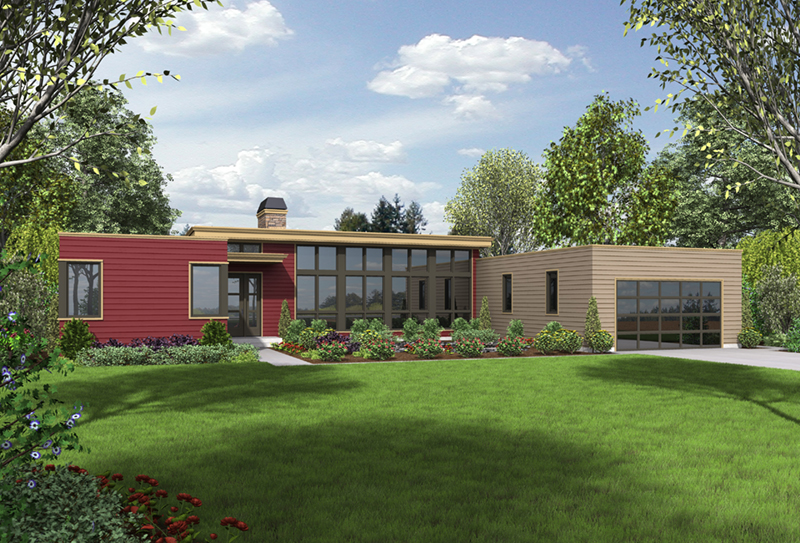 Contemporary House Plan Front of Home - Cato Contemporary Home 011D-0336 | House Plans and More