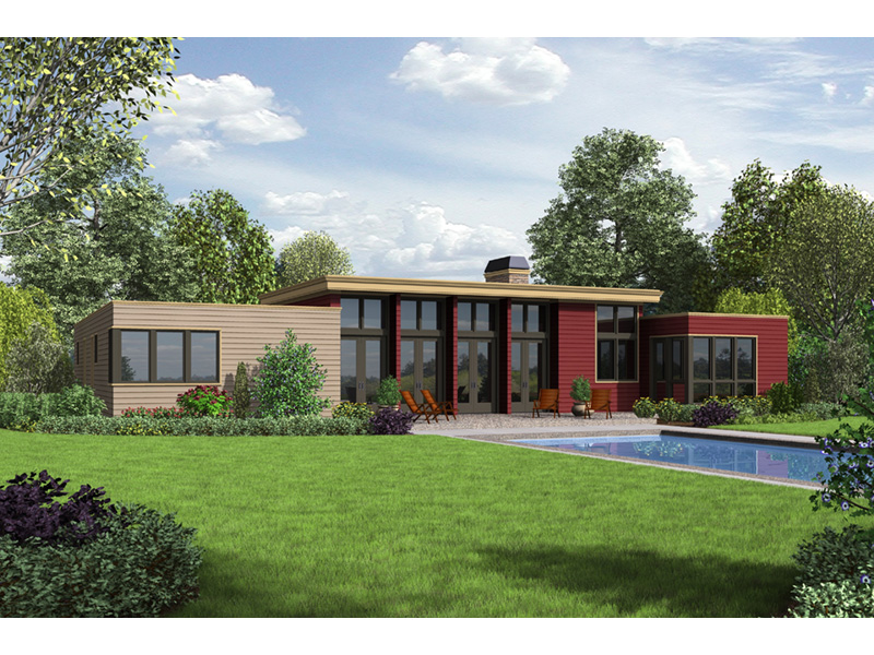 Contemporary House Plan Rear Photo 01 - Cato Contemporary Home 011D-0336 | House Plans and More