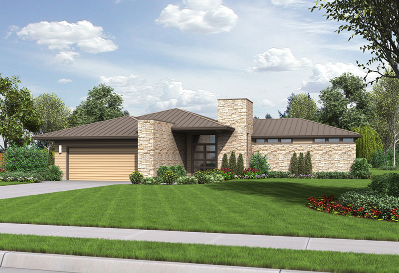 Prairie Style Floor Plan Front Image - Hyatt Contemporary Ranch Home 011D-0343 | House Plans and More