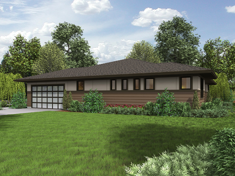Ranch House Plan Side View Photo 01 - Flora Canyon Ranch Home  011D-0344 | House Plans and More