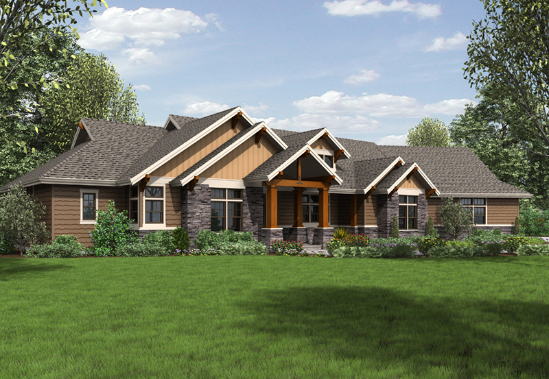 Shingle House Plan Front Image - Leigh Lane Rustic Country Ranch House | House Plans and More