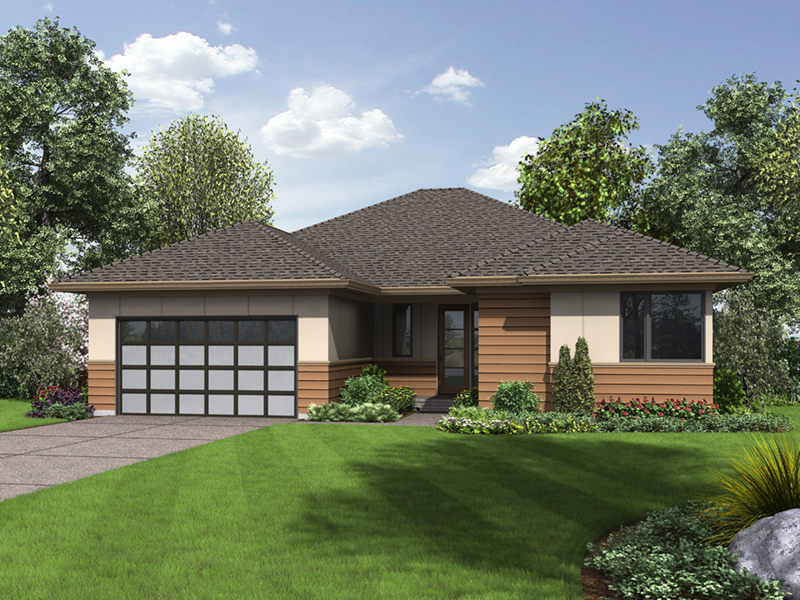 Contemporary House Plan Front of Home - Lefton Prairie Ranch Home 011D-0348 | House Plans and More