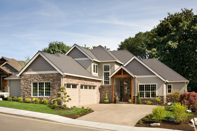 Rustic Home Plan Front of Home - Verbena Craftsman Home : Contemporary Craftsman-Style Home Plans