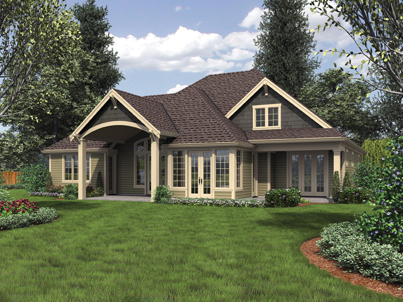 Mountain Home Plan Rear Photo 01 - Verbena Craftsman Home : Contemporary Craftsman-Style Home Plans