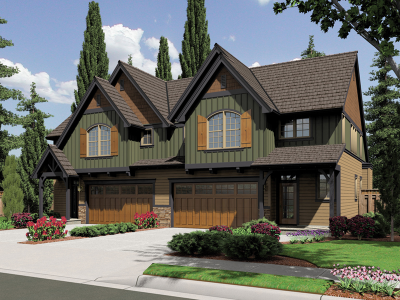 Arts & Crafts House Plan Front of Home - Sutton Heights Duplex Home  011D-0425 | House Plans and More