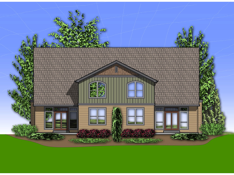 Arts & Crafts House Plan Rear Photo 01 - Sutton Heights Duplex Home  011D-0425 | House Plans and More