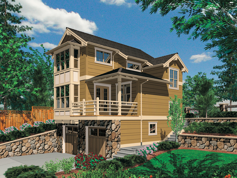 Prairie Style Floor Plan Front of Home - Daxton Sloping Lot Home 011D-0430 | House Plans and More