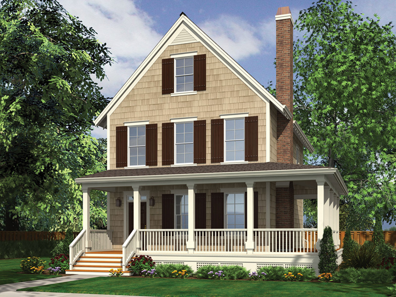 Farmhouse Plan Front Image - Lucy Hill Narrow Lot Home 011D-0542 | House Plans and More