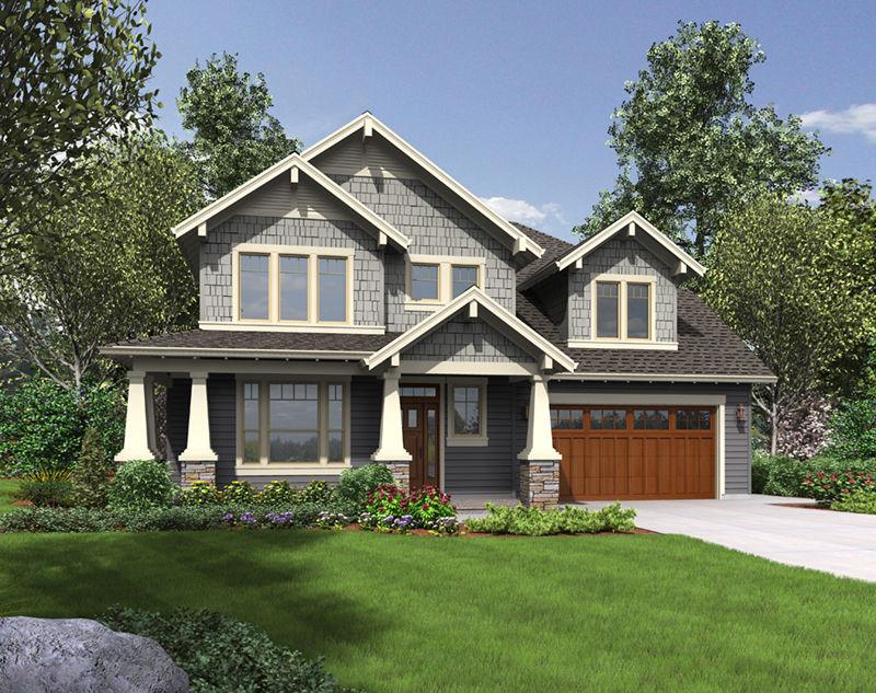 Shingle House Plan Front of Home - Cork Hollow Craftsman Home  011D-0574 | House Plans and More