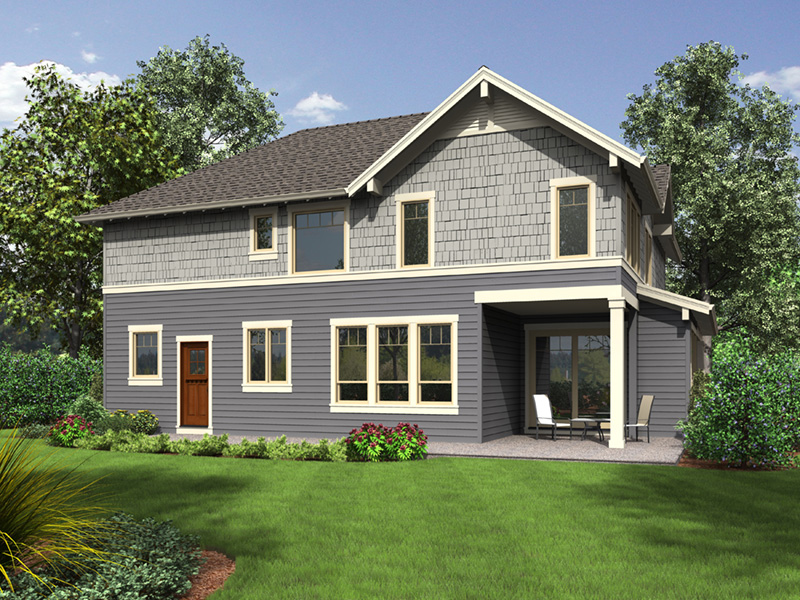 Shingle House Plan Rear Photo 01 - Cork Hollow Craftsman Home  011D-0574 | House Plans and More