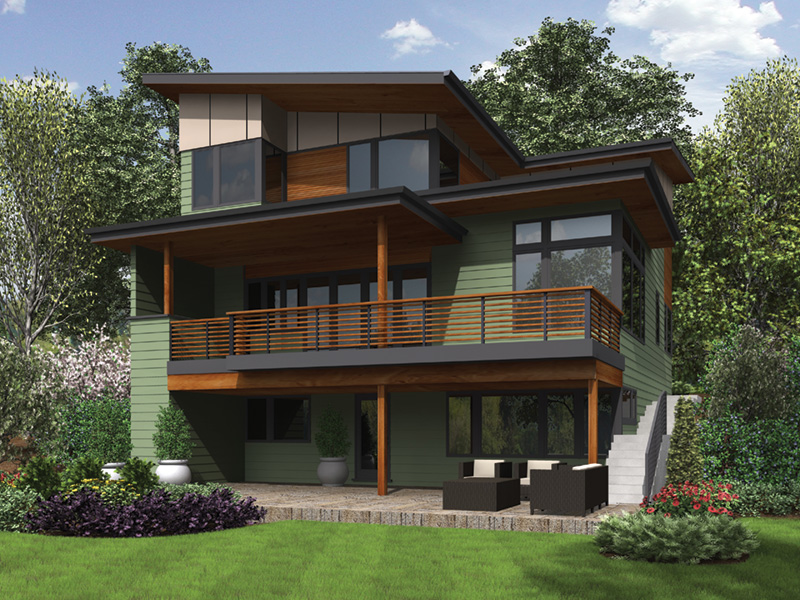 Beach & Coastal House Plan Rear Photo 01 - DuPont Modern Home 011D-0586 | House Plans and More