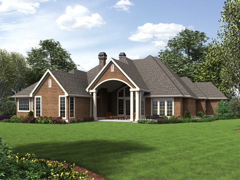 Ranch House Plan Rear Photo 01 - Drexel European Ranch Home 011D-0590 | House Plans and More