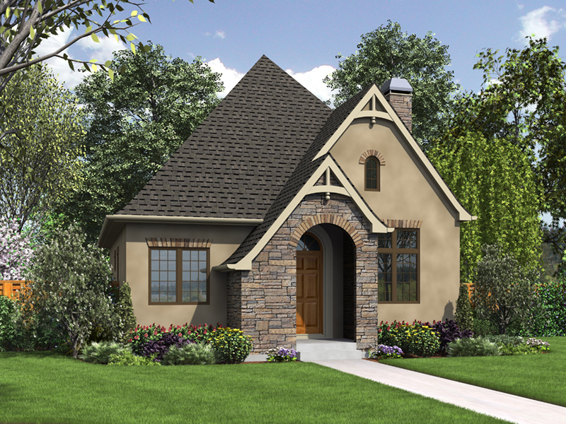 English Cottage House Plan Front of Home - Boyle European Cottage Home 011D-0591 | House Plans and More