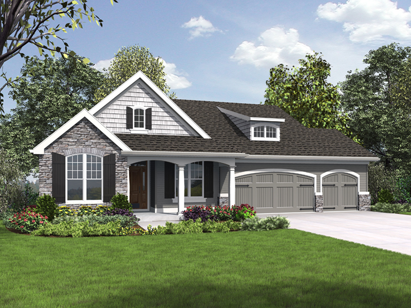 Country French House Plan Front of Home - Mandy Lane Country Home 011D-0608   House Plans and More