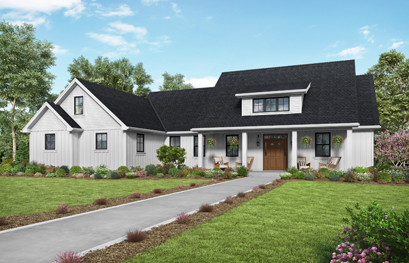 Country House Plan Front of Home - Frazier Farm Modern Farmhouse  011D-0617 | House Plans and More