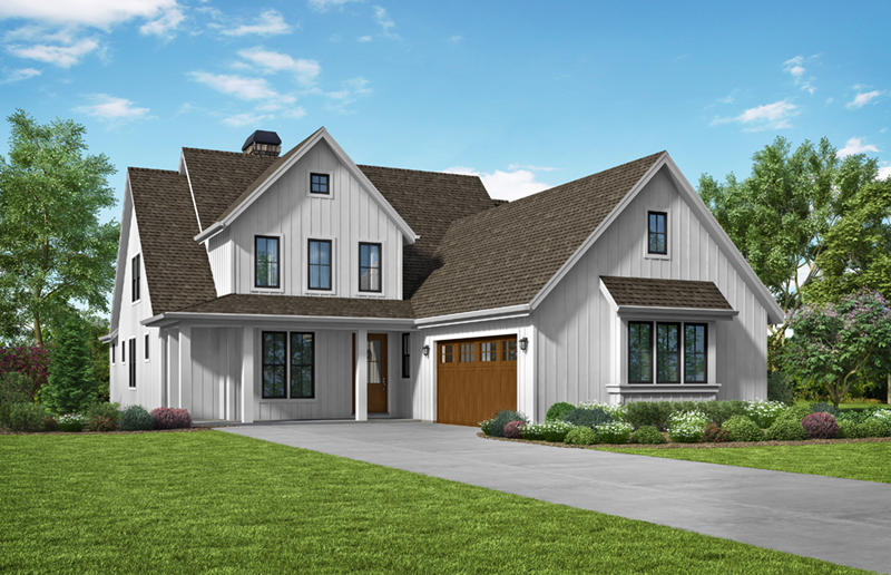 Farmhouse Plan Front of Home -  011D-0622 | House Plans and More