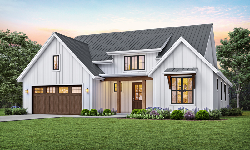 Prairie Style Floor Plan Front of Home -  011D-0627 | House Plans and More