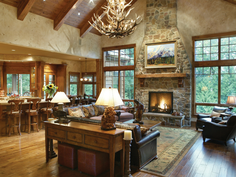 Luxury House Plan Great Room Photo 01 - Cliffwood Trail Lodge Home 011S-0001 | House Plans and More